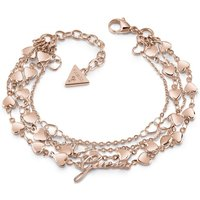 Guess Rose Gold Plated Four-row Multi Heart Chain Bracelet.