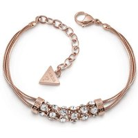 Guess Rose Gold Plated Double Bracelet With Centred Pavè Swarovski® Crystal Bar.