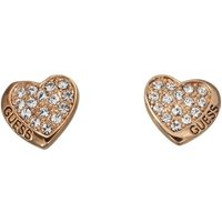 Guess Rose Gold Plated Heart Stud Earrings With Swarovski® Crystal Pavè Setting.