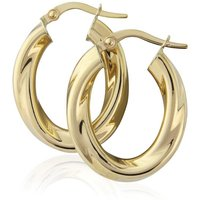 Jewellery 9ct Gold Oval Twisted Hoop Earrings