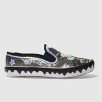 Irregular Choice Black & Silver Mistys Castle Flat Shoes