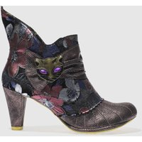 Irregular Choice Purple Miaow Floral Boots