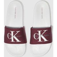 Calvin-Klein-White-and-Burgundy-Chantal-Heavy-Canvas-Sandals