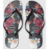 havaianas black & red slim tropical floral sandals