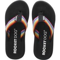 rocket dog black spotlight rainbow sandals