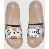 Tommy Hilfiger Pale Pink Mirror Sparkle Beach Slide Sandals