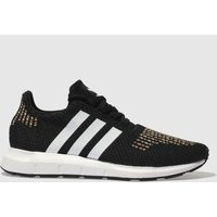 adidas black & white swift run trainers