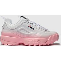Fila White & Pink Disruptor Ii Premium Fade Trainers
