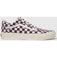 Vans White & Burgundy Old Skool Checkerboard Trainers