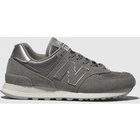 New Balance Grey 574 V2 Satin Trainers