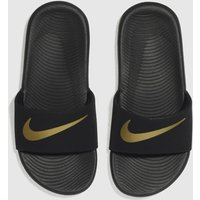 Nike Black & Gold Kawa Slide Sandals Junior