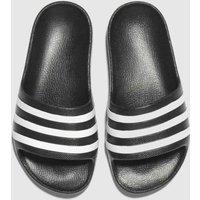 Adidas Black & White Adilette Aqua Sandals Junior