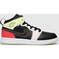 Nike Jordan Black & Orange Jordan 1 Mid Trainers Junior