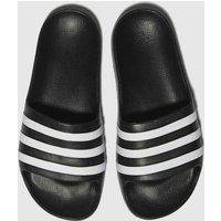 Adidas Black & White Adilette Aqua Sandals Youth