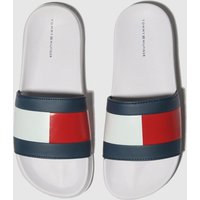 Tommy Hilfiger White & Navy Flag Pool Slide Trainers Youth