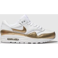 Nike White & Gold Air Max 1 Trainers Youth