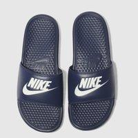 Nike Navy & White Benassi Slide Sandals