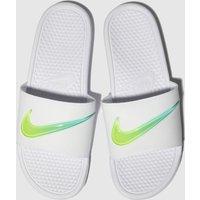 Nike-White-and-Green-Benassi-Slide-Trainers