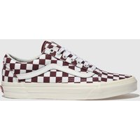 Vans White & Burgundy Old Skool Trainers