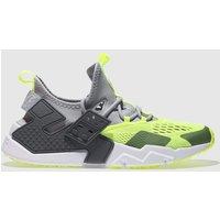 Nike Grey & Lime Air Huarache Drift Breathe Trainers