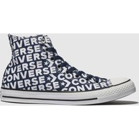 Converse Navy & White All Star Wordmark 2.0 Hi Trainers