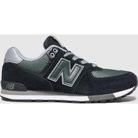 New Balance Black & Green 574 Trainers Youth