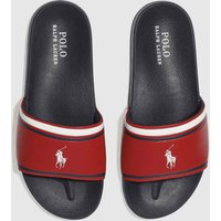 Polo Ralph Lauren Navy & Red Quilton Slide Trainers Youth