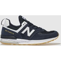 New Balance Navy & White 574 Sport Trainers Youth