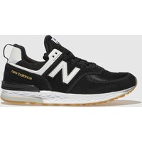 New Balance Black & White 574 Sport Trainers Youth