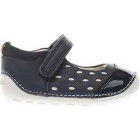 Clarks Navy & White Little Lou Girls Toddler Shoes
