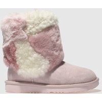 Ugg Pale Pink Classic Short Ii Patchwork Boots Junior