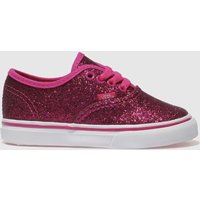Vans Pink Authentic Glitter Trainers Toddler