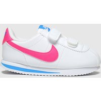 Nike White & Pink Cortez Basic Trainers Toddler