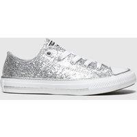 Converse Silver All Star Lo Glitter Trainers Junior