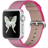 Apple Watch Sport 38 mm zilver met bandje van geweven nylon roze [wifi]