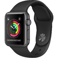 Apple Watch Series 1 38 mm spacegrijs met sportbandje zwart [wifi]