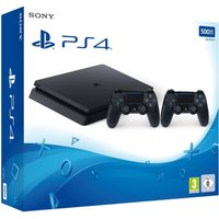 Sony Playstation 4 slim 500 GB [incl. 2 draadloze controllers] zwart