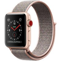 Apple Watch Series 3 38 mm aluminium goud met geweven sportbandje roze [wifi + cellular]