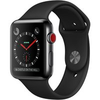 Apple Watch Series 3 42 mm edelstaal zwart met sportarmband zwart [wifi + cellular]