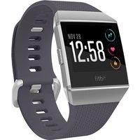 Fitbit Ionic 36 mm zilvergrijs met siliconen bandje blauwgrijs