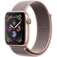 Apple Watch Series 4 44 mm aluminium goud met geweven sportbandje [wifi] grijs