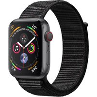 Apple Watch Series 4 44 mm aluminium spacegrijs met geweven sportarmbandje [wifi + cellular] zwart