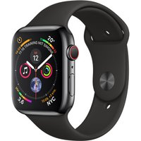 Apple Watch Series 4 44 mm edelstaal space zwart met sportarmband [wifi + cellular] zwart