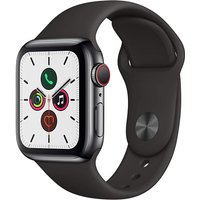 Apple Watch Series 5 40 mm Caja de acero inoxidable negro espacial con Correa deportiva negra [Wifi + Cellular]