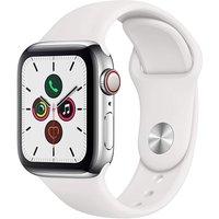 Apple Watch Series 5 40 mm Caja de acero inoxidable plata con Correa deportiva blanca [Wifi + Cellular]