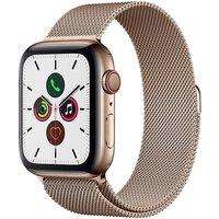 Apple Watch Series 5 44 mm Edelstahlgehäuse gold am Milanaise Armband gold [Wi-Fi + Cellular]