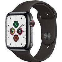 Apple Watch Series 5 44 mm Edelstahlgehäuse space schwarz am Sportarmband schwarz [Wi-Fi + Cellular]