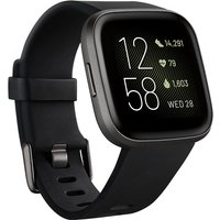 Fitbit Versa 2 40mm aluminium carbono con correa de silicona negra [Wifi]