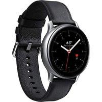 Samsung Galaxy Watch Active2 44 mm Edelstahlgehäuse silber am Lederarmband schwarz [Wi-Fi + 4G]