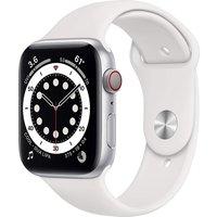 Apple Watch Series 6 44 mm Caja de aluminio en plata - Correa deportiva blanca [Wifi + Cellular]